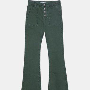 Zara Z1975 HIGH RISE BUTTON FLY FLARED JEANS-KHAKI